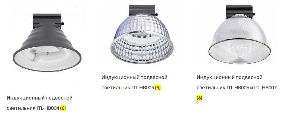 Индукционные промышленные светильники компании ITL